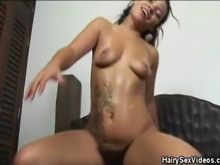 We have this naughty hairy pussy latina honey on this clip as she rides on that hard cock. Watch as she shakes and bakes on that hard cock and afterwards she is smeared with warm cum
