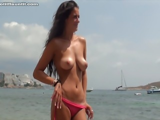 Sophie (in the black bikini) was already topless so I was hoping she would be...
