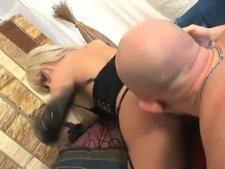 Omar Galanti first uses a dildo for her tigh ass and then he inserts his cock in it