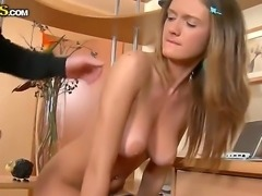 Amateur action with a nasty blonde named Faina and her fucker with a big cock