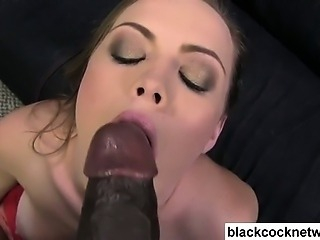 Interracial blowjob on her knees