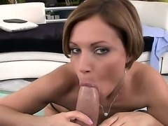 Sexy mature brunette babe enjoys sucking cock before getting her cunt...