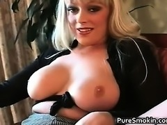 Weird blond chick Layla Jade smokes