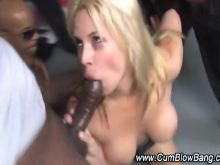 Black cock loving slut interracial gang bang blowjobs and bukkake