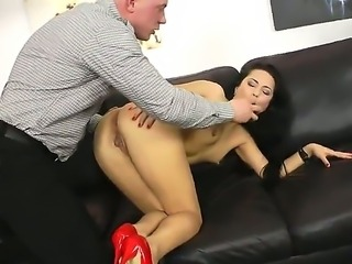 Naughty hottie Kristal Rush loves having huge toy drilling her tight ass hole