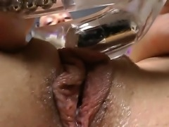 Arousing hotties masturbating their tight vags with naughty toys during solo...