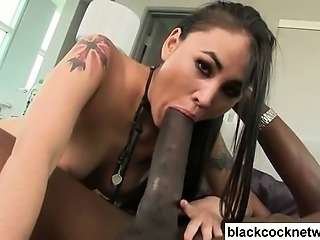 Asian babe is in love with huge black cock
