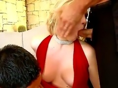 Slutty blonde babe sucks dick passionately has a nice gaping ass is drilled...