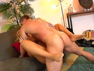 Horny milf Melanie Monroe is sucking studs gigantic cock wildly before riding...