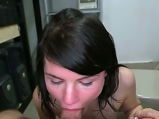 Slutty sexy horny black brunette bitch enjoys a masive stiff veiny hard cock  in her tight pussy.