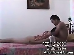 Horny asian couple having hardcore sex