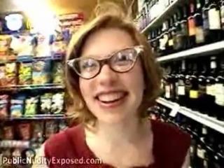 Redhead nerd Madison at Public Nudity Exposed free