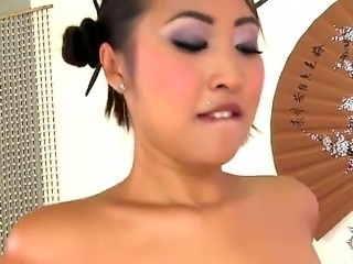 Sexy gorgeous asian babe moans and gaps in soft tones as her tight gaping cunt is banged