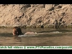 Shelbie cute brunette slut with big natural tits swimming naked in lake and...