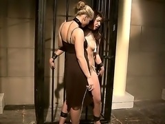 Naughty brunette moans and groans in ecstasy as she has wild bondage sex with...