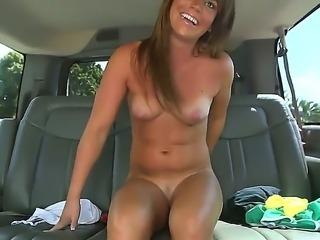 Slutty beauty Megan Mathews enjoys hard sex in the bang bus along horny guy