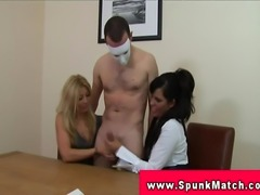 CFNM femdoms tug for subs cum during handjob party