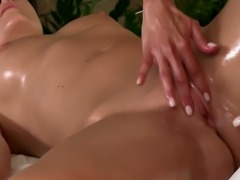 Sexy lesbian masseuse sucking client pussy and loves it