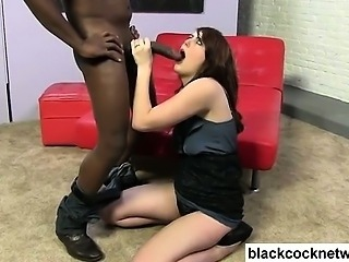 Brunette sucks big black cock
