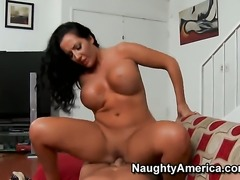 Richelle Ryan with giant jugs and bald cunt gets banged in her muff pie by...