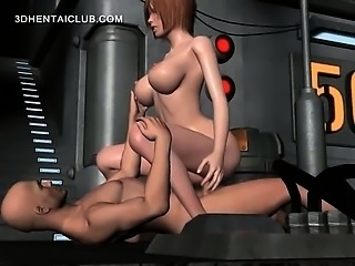 Anime babe in huge breasts getting twat smashed