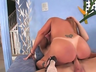 Mature big ass lady Darla Crane rides a large stiff cock wonderfully after a spicy blowjob