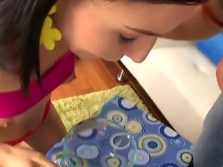 Have a glance at delightful brunette chick Ashli Orion showing her blowjob...