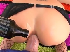 Busty slut Brandy Aniston enjoys huge cock pounding her tight and wer ass hole