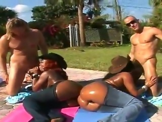 Super big ass babes Cream and Diamond Mason ride huge throbbing white cock wildly