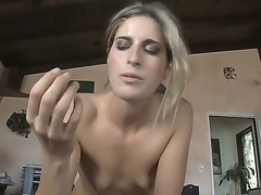 Naughty and beautiful babe Kara Price demonstrates her deep throat skills