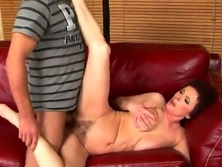 Mature horny milf Babuska gets rammed by a huge throbbing cock till she squirts