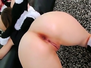 Big busty freaky brunette gets a steamy anal fuck session in her gaping ass...