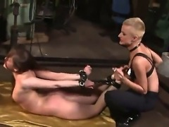Short haired cougar Sinead plays hardcore games with bondaged girlfriend...