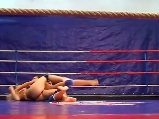 Sexy babes get down on the ring for a fight as they play with sensitive parts...