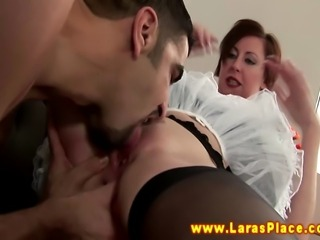 Mature slut love blowing her young studs hard cock