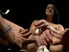 Brunette cute babe Barbie Pink gets tied and dominated by her busty mistress...