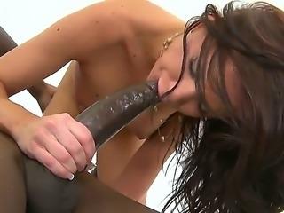 Tattooed pale brunette Carina Roman rides on black stud Flash Brown with...