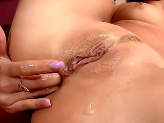 Pretty brunette babe Jessika Lux with cheep heavy make up and long whorish nails gets fingered rough while sucking tattooed wild stud and screams while her fucks her in the ass.