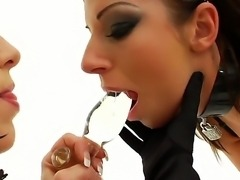 Hardcore and awesome lesbian fuck with a horny slut Debbie White and Kream