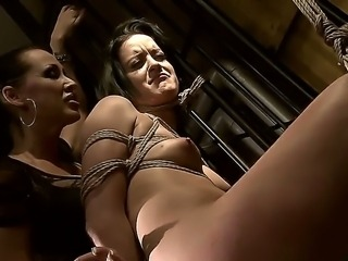 Dirty lesbian babes Barbie Pink and Mandy Bright in wild femdom porn session