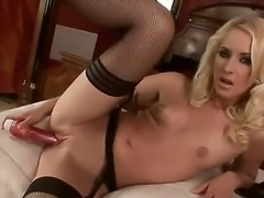 Sexy sensational blonde babe has  all the fun solo as she plays with cunt...