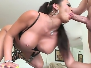 Incredibly hot Asian bitch with huge boobs and wild libido gets her mouth fucked hard