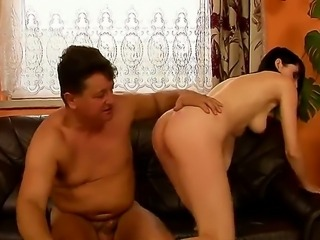 Amy enjoys her old granny trimmed and shaved hard cock.