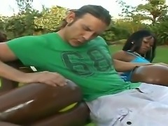 Enjoy threesome hardcore with amazing depraved oiled babes Jay and Unique