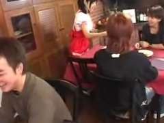 Cute Asian waitress giving the boss a blowjob