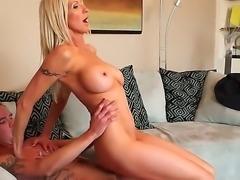 Slender blonde cougar Emma Starr with big tits and long whorish nails gets...