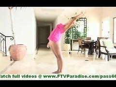 Jessi skinny blonde ballerina dancing and undressing and posing naked