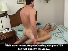 Naughty naked blonde riding cock and fucking hard with sexy guy