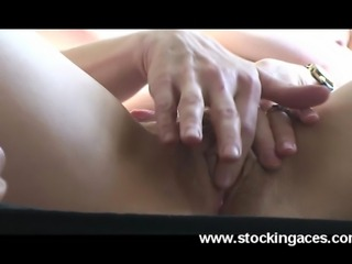 Sexy uk mature Hazel spreading legs and playing with her pussy Thx to stockingaces.com