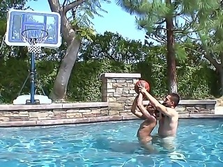 Black haired slut Skin Diamond with sexy tattoos and sexy nose piercing in bikini has fun with her boyfriend in the pool and takes on his stiff pecker with great lust.